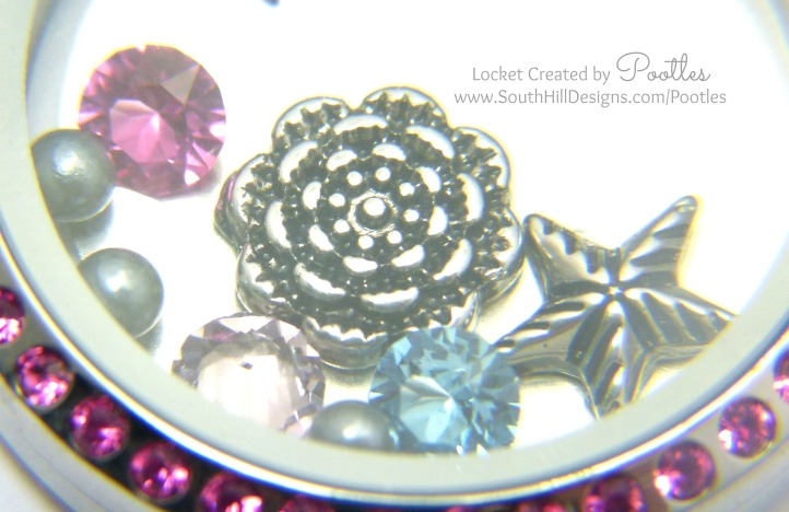 Vintage Pink with a Splash of Blue - South Hill Designs Locket Extreme Close Up
