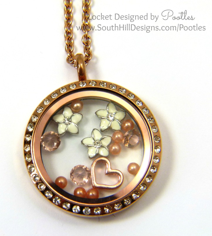 South Hill Designs Pootles - Rose Gold and White Plumeria Flowers Close Up