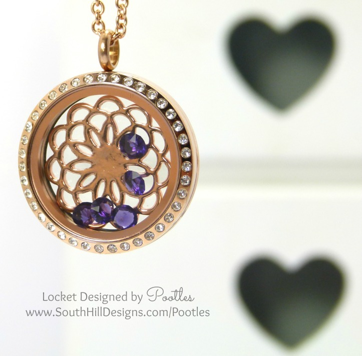 South Hill Designs Rose Gold with Purple Velvet Crystal Accents