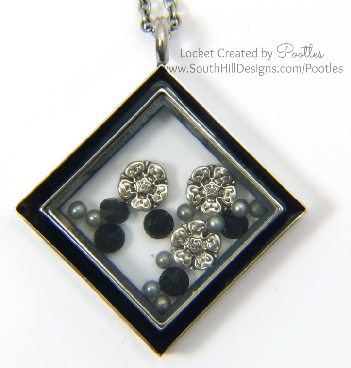 South Hill Designs UK, Canada, USA, Mexico, Dominican Republic, Puerto Rico - Black and Pewter Tudor Roses Close Up