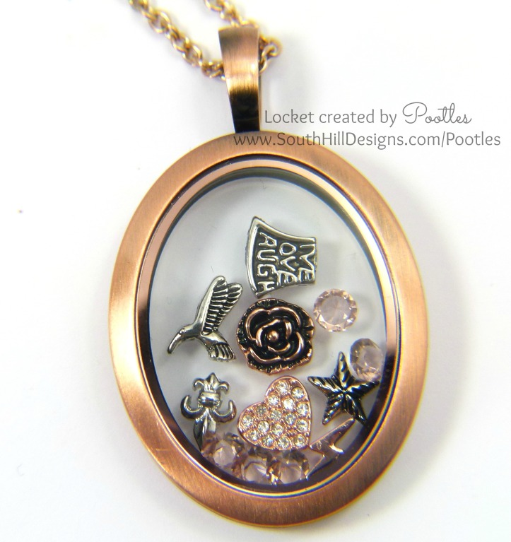 Pootles South Hill Designs - Rose Gold Vintage Oval Locket Showcase Close Up