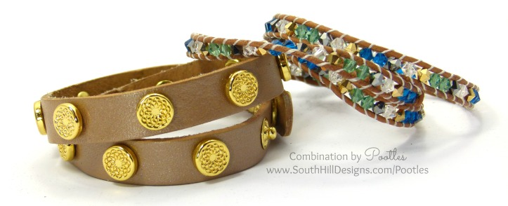 Pootles South Hill Designs - Cobalt, Emerald and Gold Crystal Wrap Bracelet with Champage Wrap
