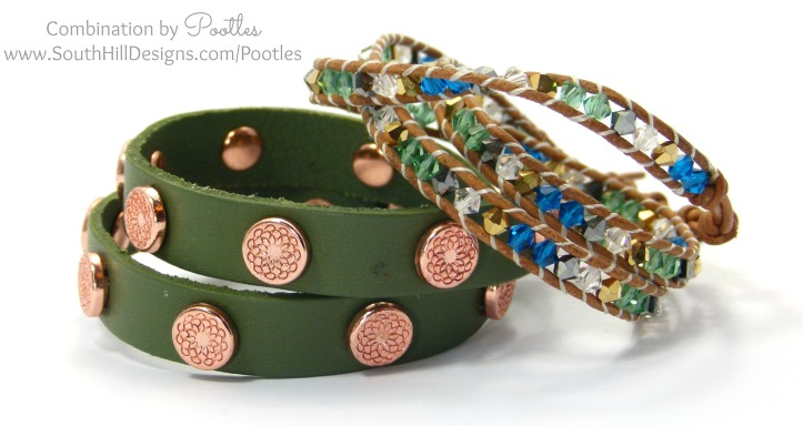 Pootles South Hill Designs - Cobalt, Emerald and Gold Crystal Wrap Bracelet with Olive Wrap