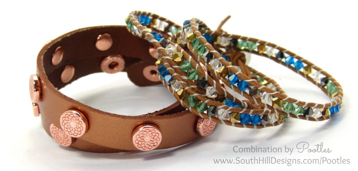Pootles South Hill Designs - Cobalt, Emerald and Gold Crystal Wrap Bracelet with Rose Gold Wrap