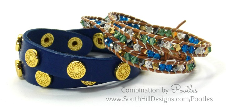 Cobalt, Emerald and Gold Crystal Wrap Bracelet with Navy Wrap