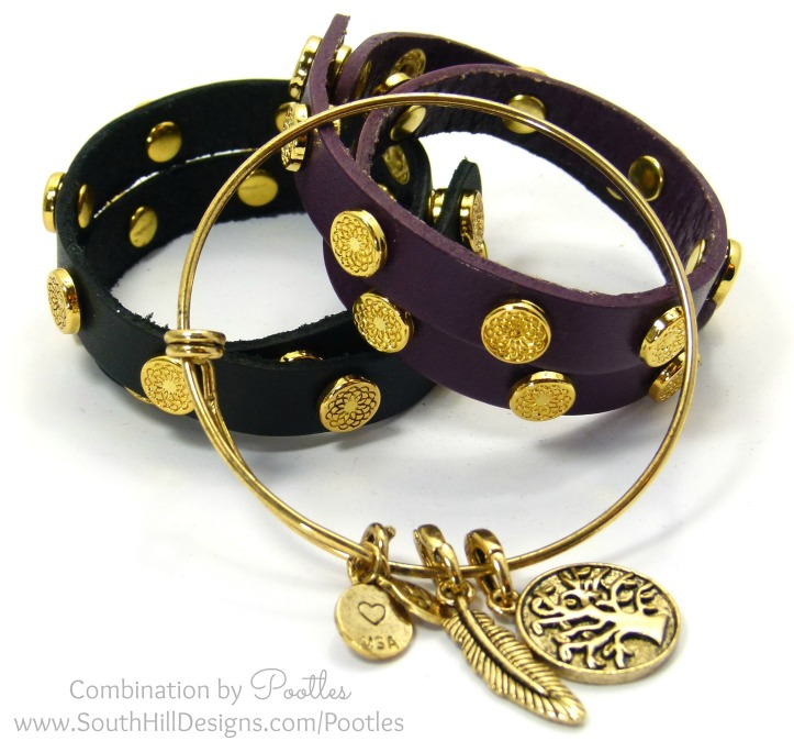 South Hill Designs - Vintage Bangle meets the Wraps Black and Eggplant Wraps
