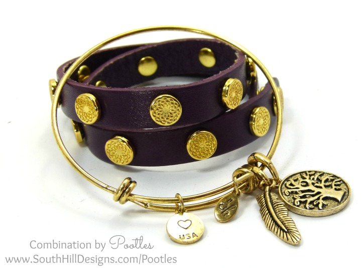 South Hill Designs - Vintage Bangle meets the Wraps Eggplant Wrap