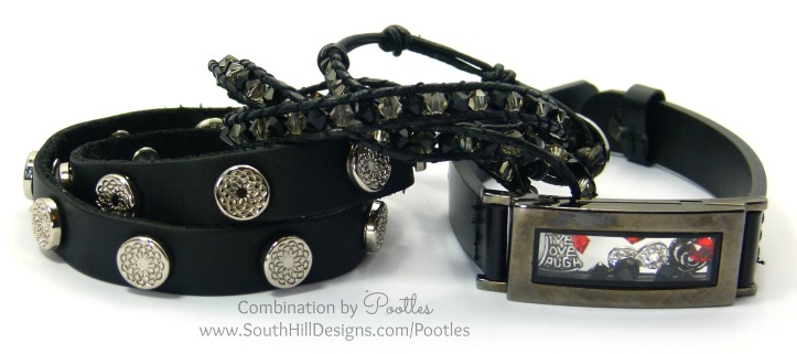 Pootles South Hill Designs - Black Crystal Wrap Showcase with Locket Bracelet