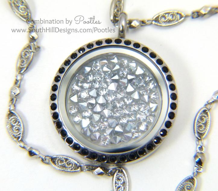 Pootles South Hill Designs - Hematite Swarovski Crystal Showcase close up