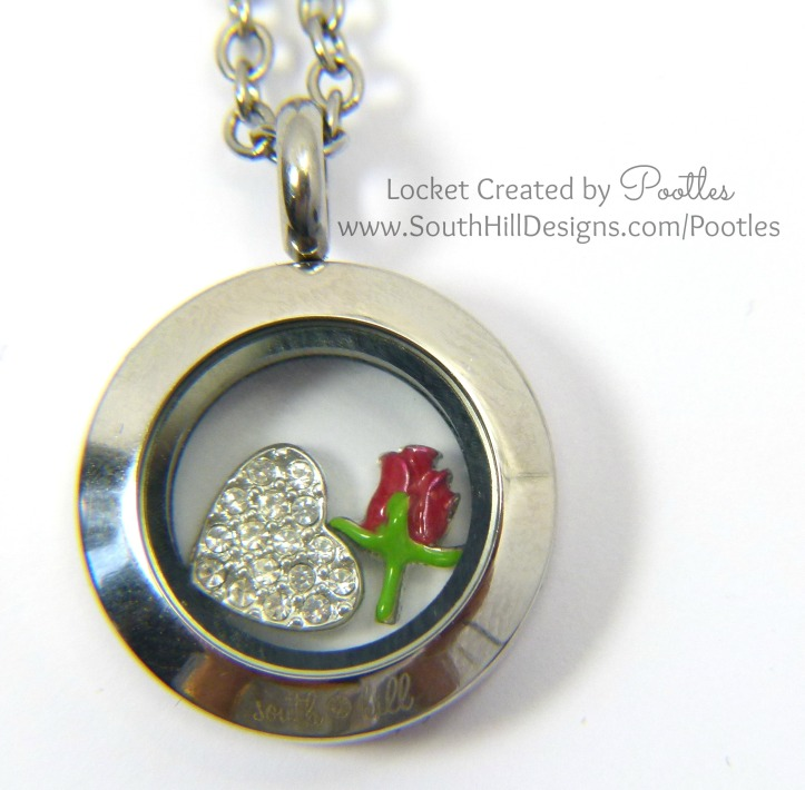 Pootles South Hill Designs - Mini Locket Showcase Rose and Heart