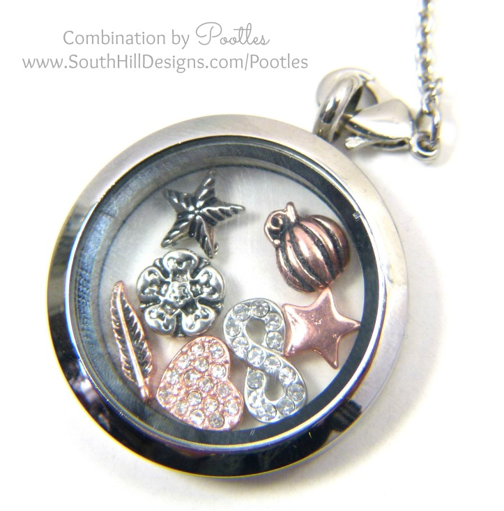 Pootles South Hill Designs - Silver & Rose Gold Triple Tassle Loveliness large locket