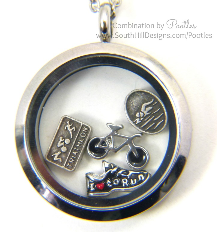 Pootles South Hill Designs - Triathlete Locket Close Up