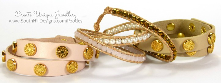 South Hill Designs Blush Leather Wrap and Crystal Wrap