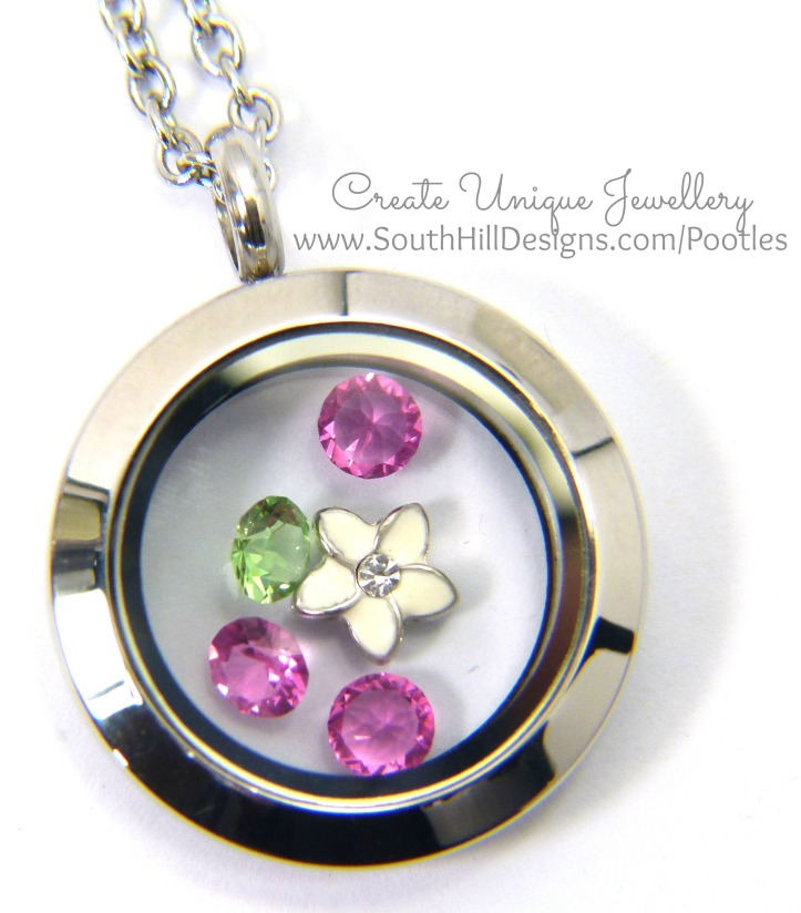 South Hill Designs & Stampin' Up! Sunday Painted Petals Locket Close Up