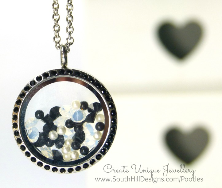 South Hill Designs - Black Crystals and White Pearls Hanging