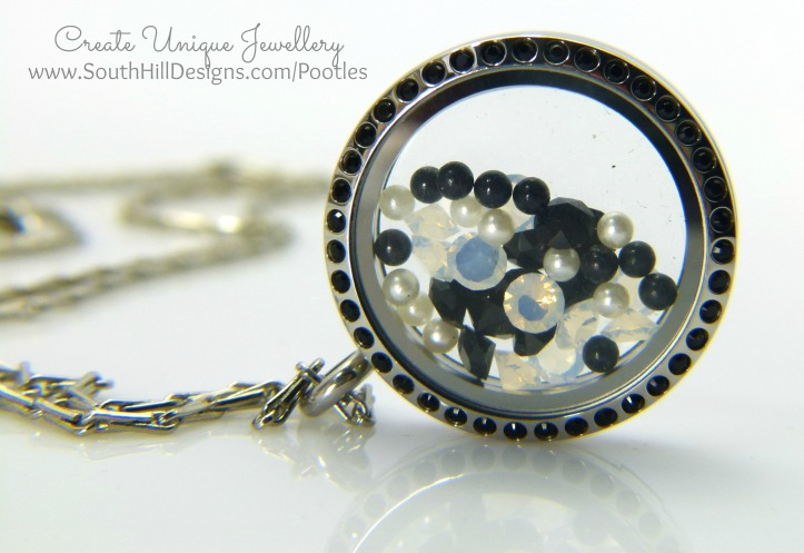 South Hill Designs - Black Crystals and White Pearls
