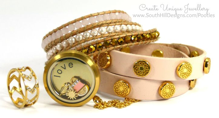 South Hill Designs - Gold Love and a spot of Pink! Full Set