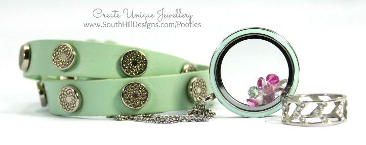 South Hill Designs - New Cupcake & Mint Locket Mint Wrap, Chevron Ring