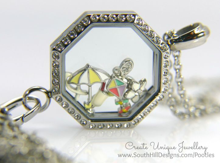 South Hill Designs - Octagonal Linkable Locket  Side Profile