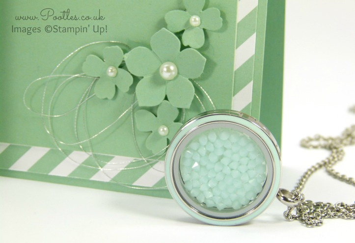 South Hill Designs & Stampin' Up! Sunday Card in a Card Tutorial Close up Locket and Decoration