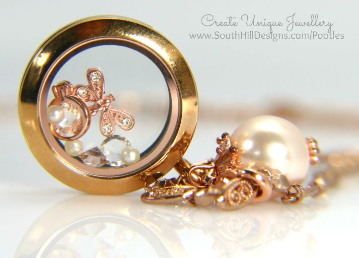 South Hill Designs - Dragonflies, Droplets and Rings. Rose Gold of course... side profile