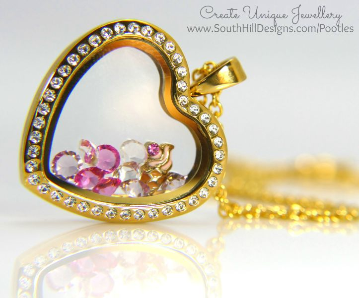 South Hill Designs - Gold Hearts and Pink Ice Cream Side Profile