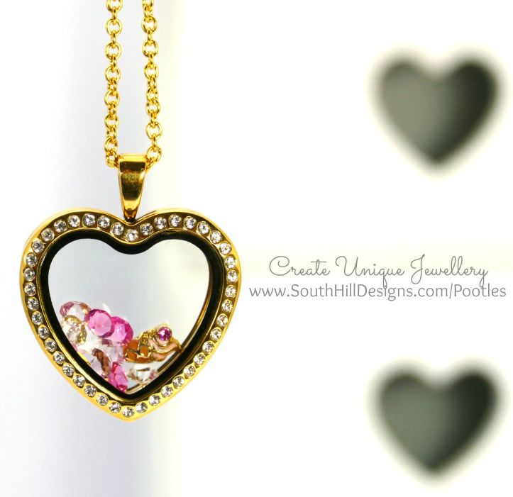 South Hill Designs - Gold Hearts and Pink Ice Cream