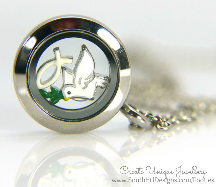 South Hill Designs - Mini Silver Locket and Dove