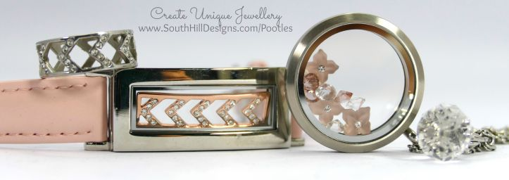 South Hill Designs - Matte Silver & Pink German Frosted Flowers Full Look