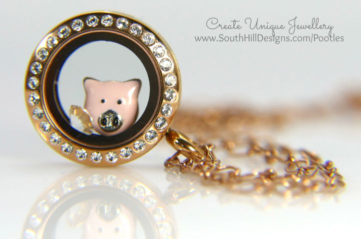 South Hill Designs - Mini Pig in a Rose Gold Locket!