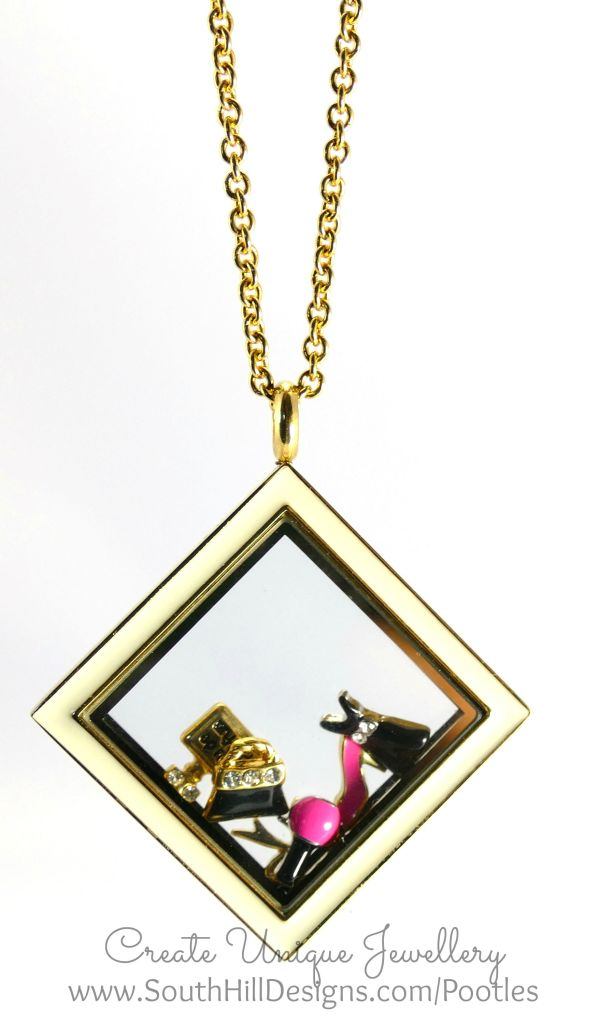 South Hill Designs - Gold and Pretties in a Diamond HAnging