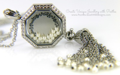 South Hill Designs - Octagonal Linkable Locket and Pearl Tassel Focus on Screen