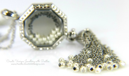 South Hill Designs - Octagonal Linkable Locket and Pearl Tassel Focus on Tassel