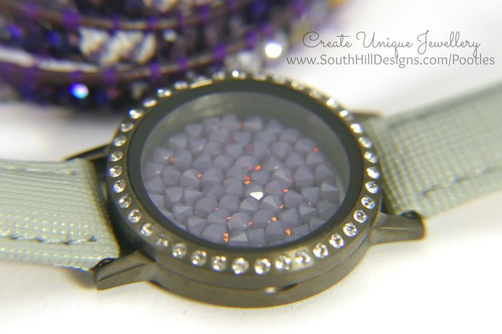 South Hill Designs - Silver or Gold with Purple... Cyclamen Embellishment Close Up
