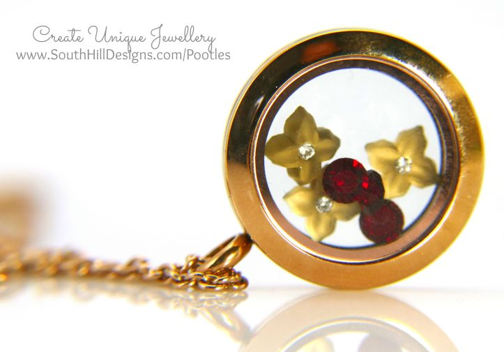 South Hill Designs & Stampin Up Sunday Soft Flowers & Red Accents Locket
