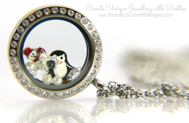 South Hill Designs & Stampin' Up! Sunday Penguins & Snowmen Card & Locket Close up of Locket