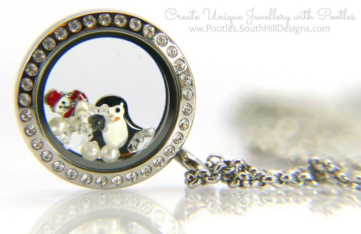South Hill Designs & Stampin' Up! Sunday Penguins & Snowmen Card & Locket Close up of Locket