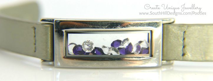 South Hill Designs - Silver Bracelet and Violet Wrap Locket and Crystals