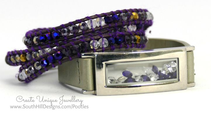 South Hill Designs - Silver Bracelet and Violet Wrap